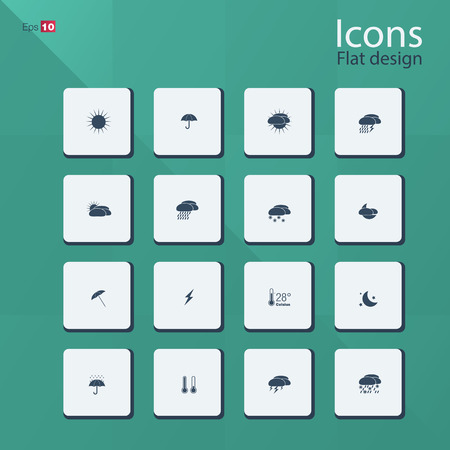 humidity: Flat icon set for Weather concepts. Editable vector format.