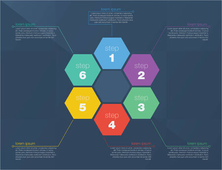 succes: Six step succes concept. Flat design in editable vector format Illustration