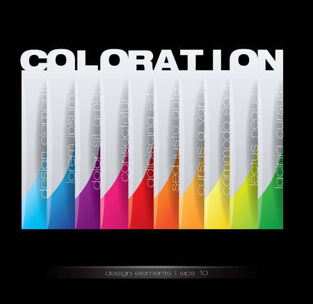 coloration: Vertical design element - Coloration concept. Editable vector format. Illustration