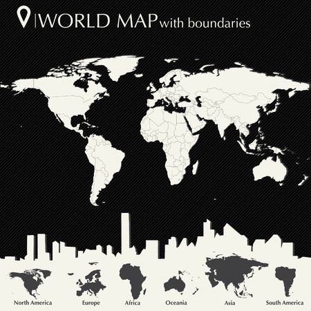 World map with countries in editable vector format