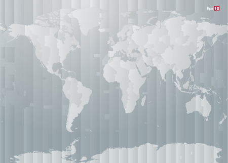World map with countries and timezones in editable vector format Illustration