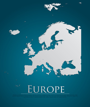 vector Europe Map card paper on blue background, high detailed