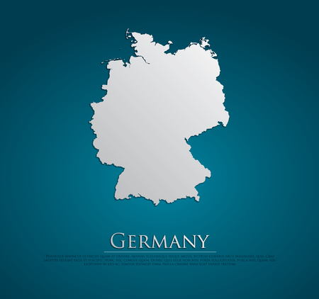 vector Germany Map card paper on blue background, high detailed Vector