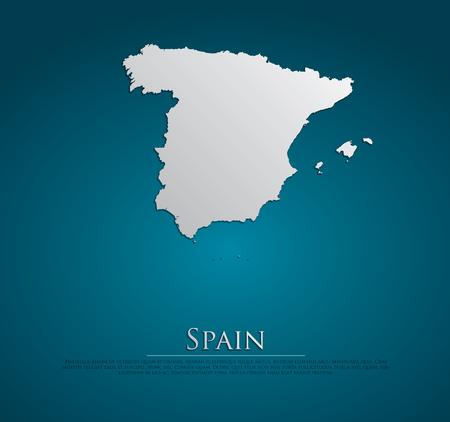 spain map: vector Spagna carta di carta mappa su sfondo blu, alta dettagliate