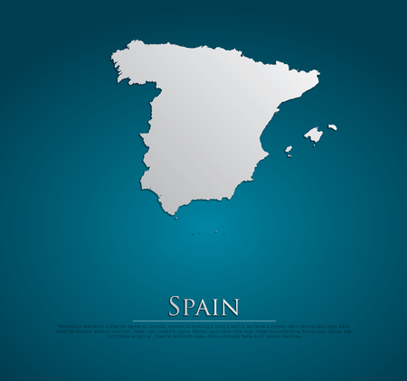 vector Spain Map card paper on blue background, high detailed Vector