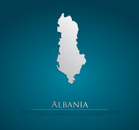 vector Albania Map card paper on blue background, high detailed photo