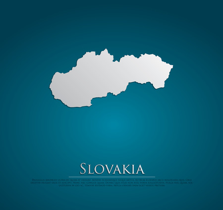Slovakia Map card paper on blue background, high detailed photo