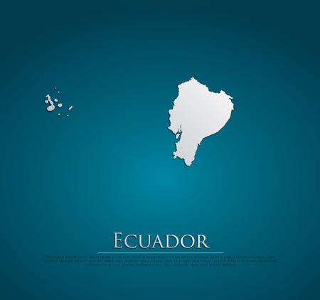 republic of ecuador: Ecuador map card paper 3D natural