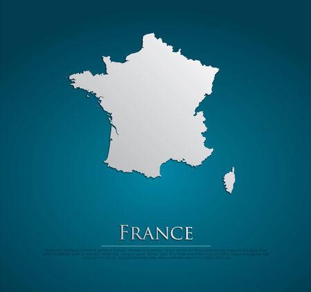 france: France Map card paper on blue background, high detailed