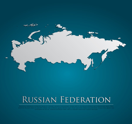russian federation: Russian Federation Map card paper on blue background, high detailed