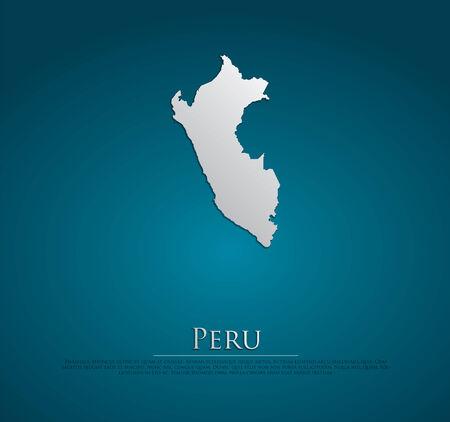 peru map: Peru map card paper 3D natural, high detailed