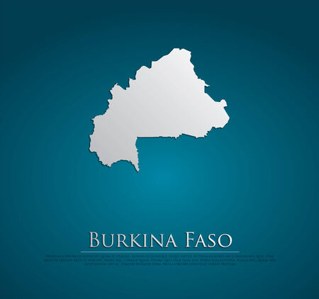 vector Burkina Faso Map card paper on blue background, high detailed photo