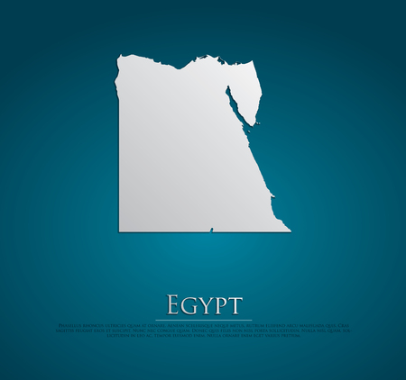 vector Egypt Map card paper on blue background, high detailed photo