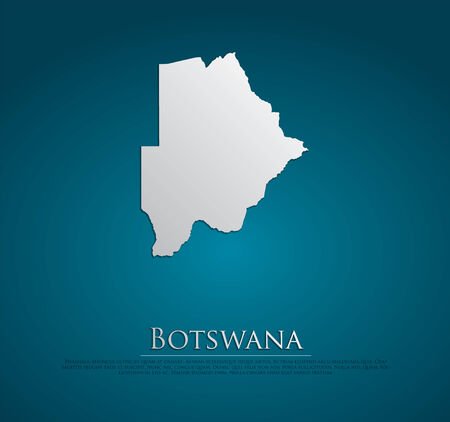 vector Botswana Map card paper on blue background, high detailed photo