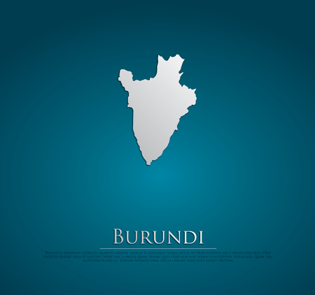 vector Burundi Map card paper on blue background, high detailed photo