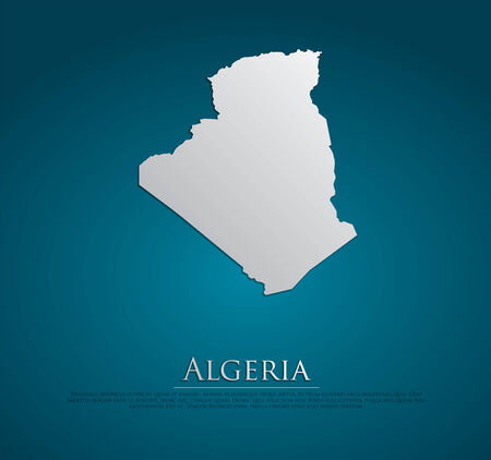 vector Algeria Map card paper on blue background, high detailed photo