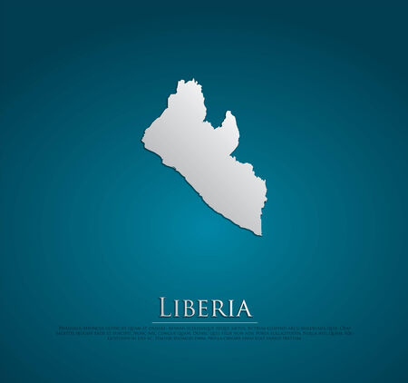 liberia: vector Liberia Map card paper on blue background, high detailed Stock Photo