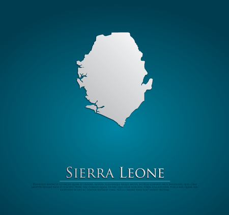 high sierra: vector Sierra Leone Map card paper on blue background, high detailed Stock Photo