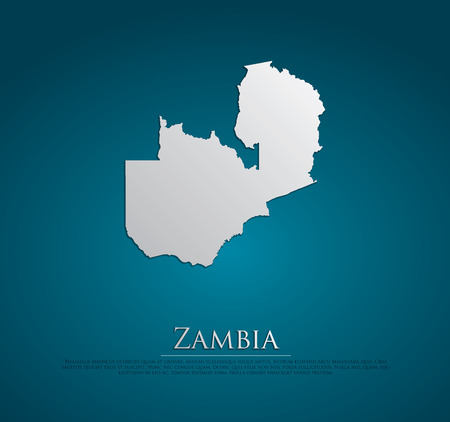 vector Zambia Map card paper on blue background, high detailed photo