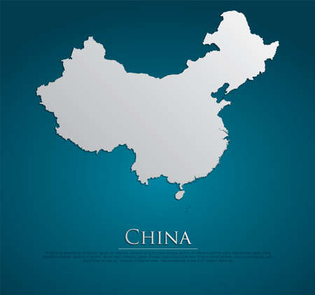vector China Map card paper on blue background, high detailed