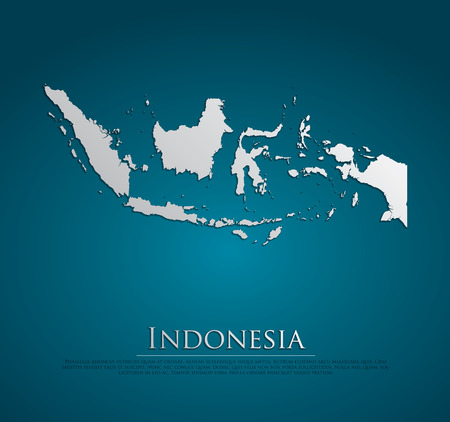 indonesia: vector Indonesia Map card paper on blue background, high detailed Stock Photo