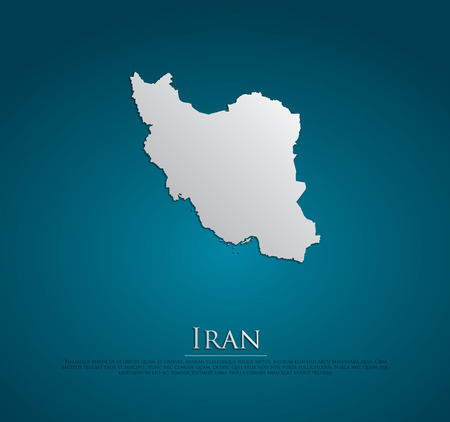 indie: vector Iran Map card paper on blue background, high detailed