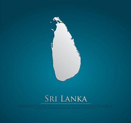 lanka: vector Sri Lanka Map card paper on blue