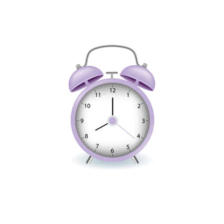 Alarm clock purple wake-up time isolated on background in realistic style. Vector illustration. Stock Illustratie