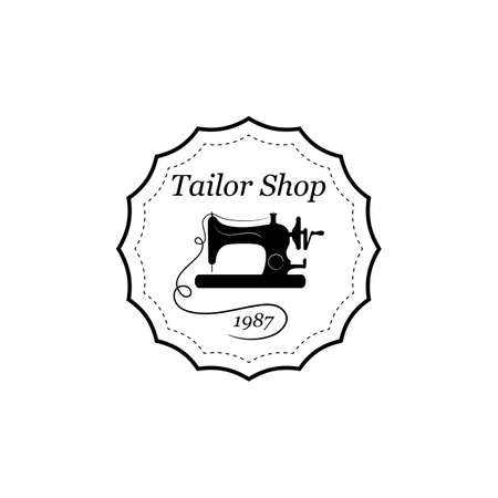 Sewing machine vector black round emblem, label, badge or logo in vintage style for tailor shop isolated on white background