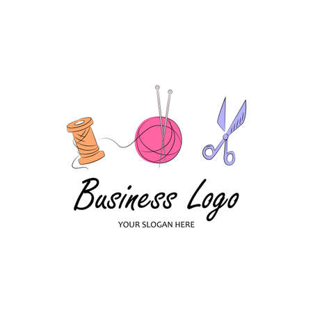 Knit workshop, creative course, master class template logo, badge, sign, label. Freehand drawn line concept knitting accessories, scissors and wool ball on white background.