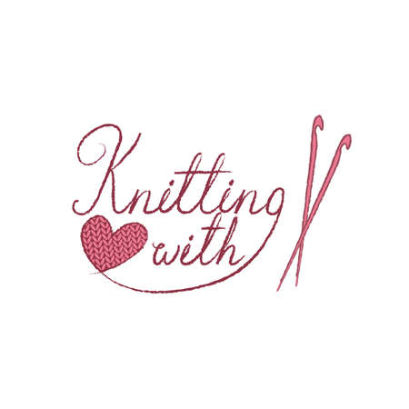 Knitting logo or symbol. Ball of yarn with needles, knit icon. Lettering illustration knitting with love.