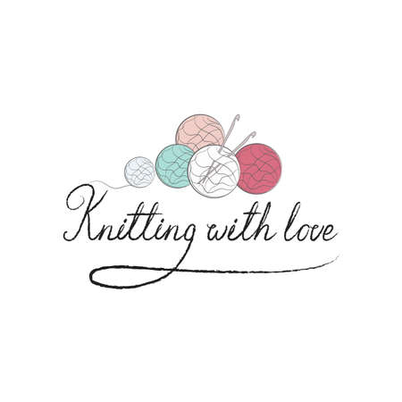 Knit logo or label. Ball of yarn with knitting needles.