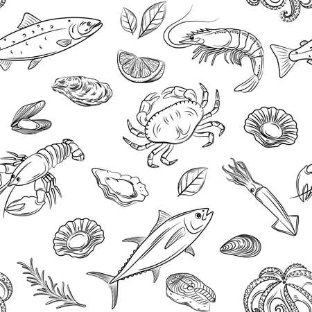 Vector hand drawn seafood seamless pattern with mussel, fish salmon and shrimp. Lobster, squid, octopus, scallop, lobster or crabs, mollusk, oyster and tuna for product market, restaurant, cafe. Illustration