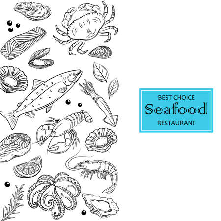 Seafood hand drawn vector illustration. Crab, octopus, scallop, lobster, shrimp, oyster, mussel, caviar and squid. Fish and sea food restaurant menu, flyer, card, business promote.  イラスト・ベクター素材