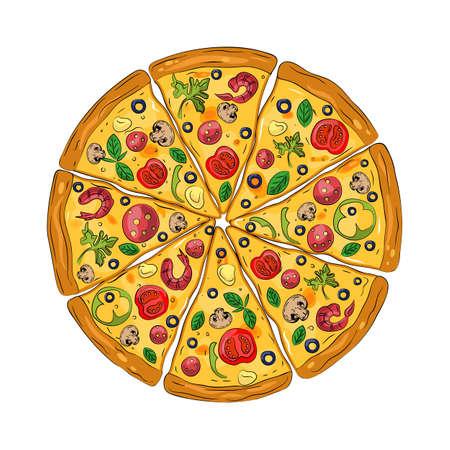 Pizza fresca con tomate, queso, aceituna, chorizo, camarones, albahaca. Comida rápida italiana tradicional. Comida de vista superior. Fondo blanco aislado. Ilustración de vector vintage.