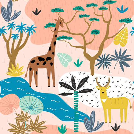 Seamless pattern with giraffe, antelope and tropical landscape. Creative jungle childish texture. Great for fabric, textile. Vector Illustration.