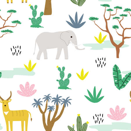 Seamless pattern with animals africa, antelope, elephant and tropical landscape. Creative cute childrens texture. Great for fabric, textile, walpaper. Vector Illustration.