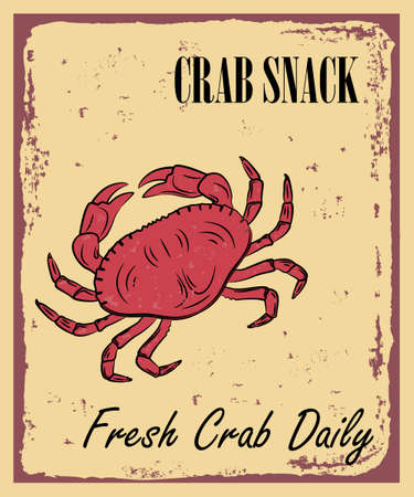 Crab vector illustration in vintage style. Seafood product design.