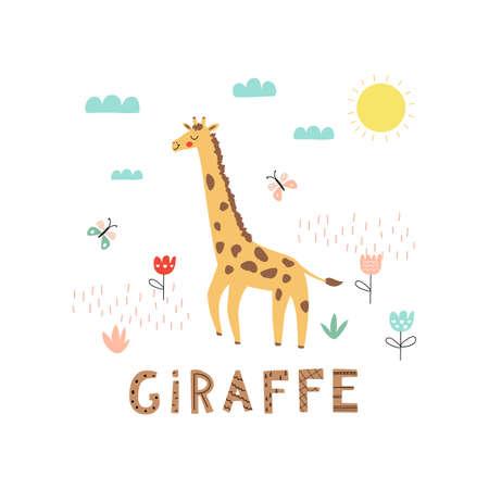 Cartoon giraffe character. Vector illustration isolated on nature background.