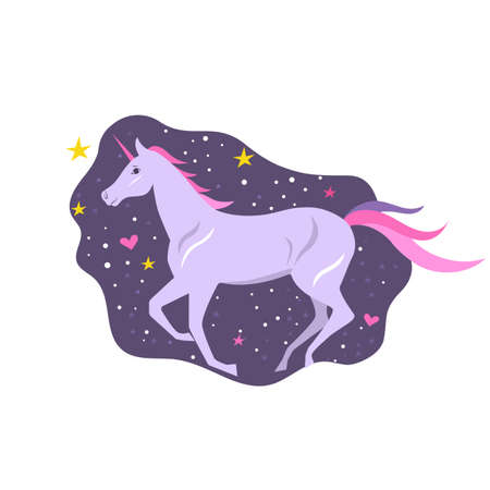 Magical violet unicorn with a bright pink mane, tail and a horn on a starry night background. Poster, t-shirt composition, handmade print. Vector illustration.  イラスト・ベクター素材