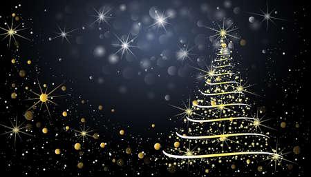 The Magic Christmas Tree. Christmas background, card. Vector illustration.  イラスト・ベクター素材
