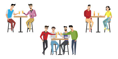 People are drinking beer, having fun. Friends spend their free time together in a bar. Vector cartoon illustration. Stock Illustratie