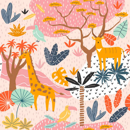 Seamless childish pattern with giraffe, toucan, antelope and tropical landscape. Creative nursery texture. Perfect for kids design, fabric, wrapping, wallpaper, textile, apparel. Vector Illustration.