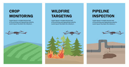 Set of vector posters with drones. The drone monitors and checks crops, agricultural land, forest fires, and the leakage of oil and gas pipelines. Aerial Drone taking photography and video.