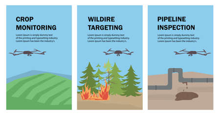 Set of vector posters with drones. The drone monitors and checks crops, agricultural land, forest fires, and the leakage of oil and gas pipelines.Aerial Drone taking photography and video. Template for articles