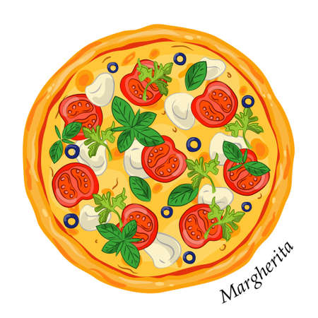 Fresh pizza margherita with tomato, cheese mozzarella , olive, basil. Traditional italian fast food. Top view meal. Isolated white background. Vector illustration.