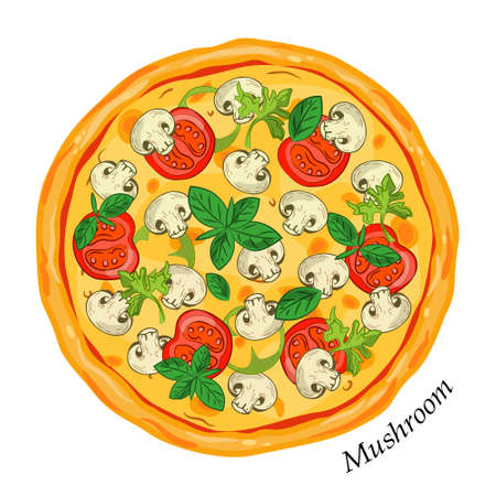 Fresh pizza with mushrooms basil tomatoes.