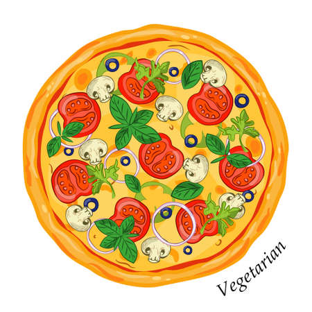 Fresh pizza vegetarian with onions, tomatoes, basil, olives , mushrooms and herbs.