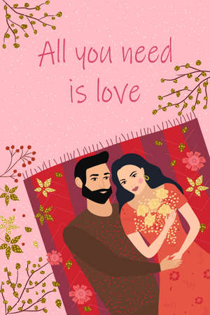 Top view of a happy young couple. Cute romantic postcard illustration for February 14th. Love, date, love story, relationship of man and woman. Vector design concept for valentines day.  イラスト・ベクター素材