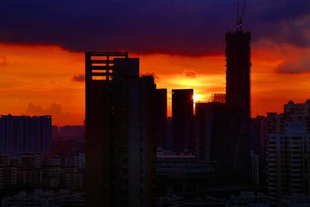 futian: Shenzhen town sunset